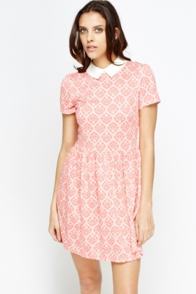 Pink Tapestry Print Collard Dress