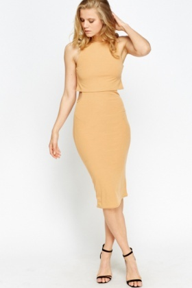 Camel Overlay Ribbed High Neck Dress