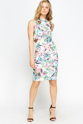 Multi Floral Overlay Bodycon Dress