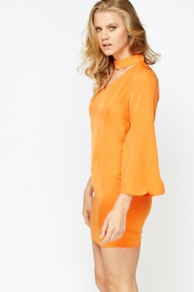 Orange Flared Sleeve Choker Dress