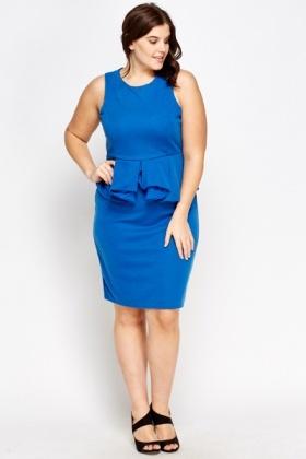 Royal Blue Peplum Midi Dress - Just £5