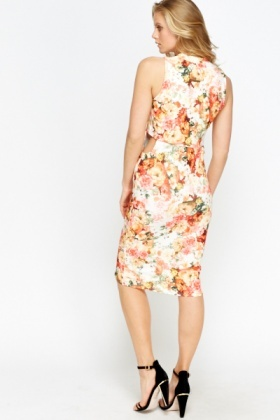 White Multi Floral Overlay Dress