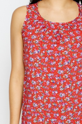 Red Floral Summer Top