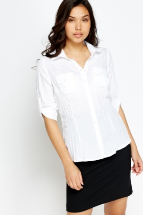 Stripe Texture Button Front Shirt