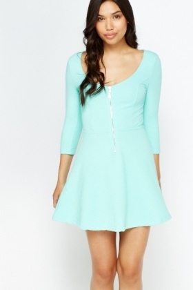 Textured Zip Front Skater Dress