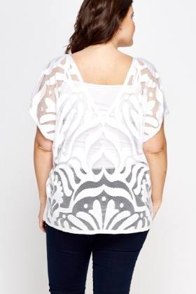 Mesh Contrast Cover Up Top
