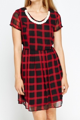 Pearl Trim Checked Dress