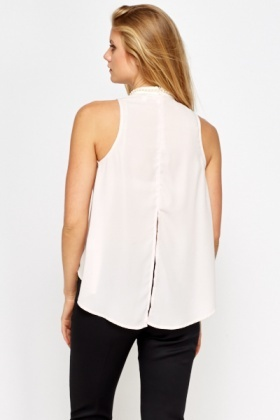 Pearl Trim High Neck Flared Top
