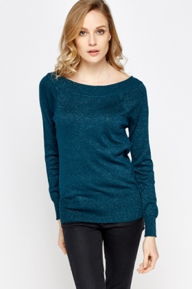 Scoop Neck Metallic Jumper