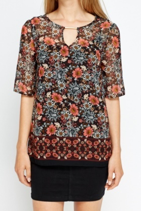 Sheer Floral Loose Fit Top