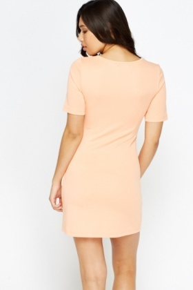 Zip Front Slim Fit Shift Dress