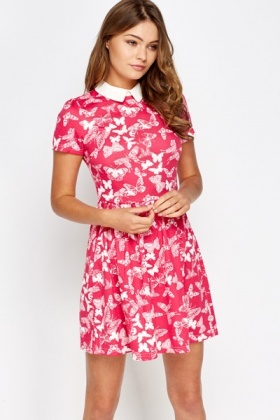 Collared Butterfly Print Fuchsia Dress