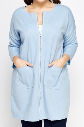 Long lined Zip Front Coat