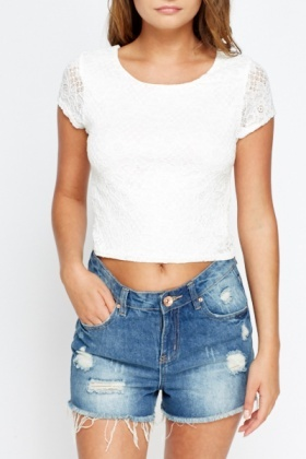 Off White Lace Crop Top
