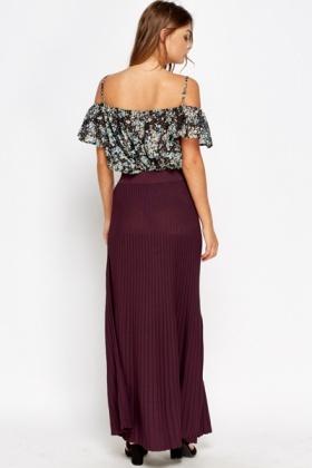 Plum Pleated Maxi Skirt - Just £5