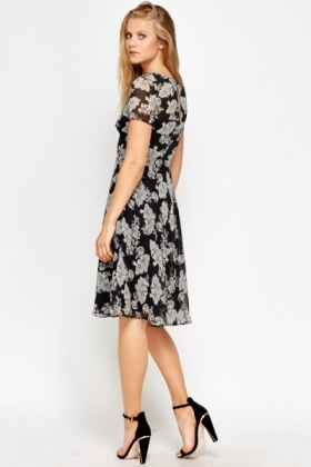 Sheer Overlay Floral Dress