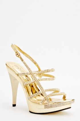 Encrusted Heeled Strappy Sandals