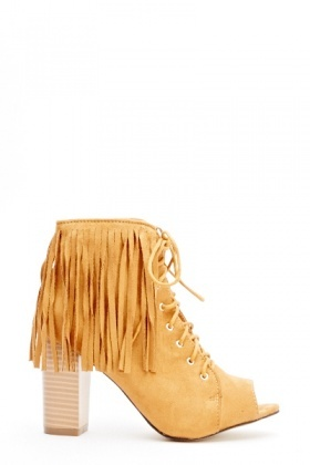 Fringed Back Open Toe Boots