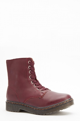 Lace Up Front Burgundy Boots