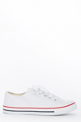 White Basic Canvas Trainers
