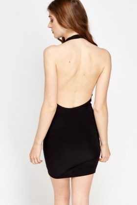 Black Plunge Halterneck Dress