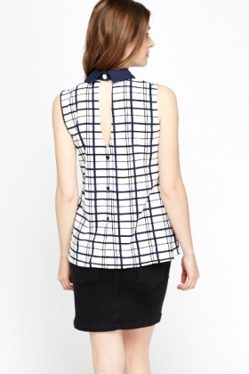 Check Grid Collared Top