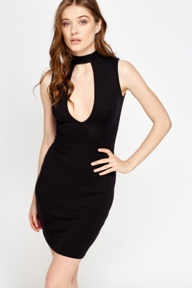 Cut Out Front High Neck Dress