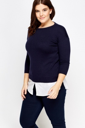 Dark Blue Shirt Insert Sweater