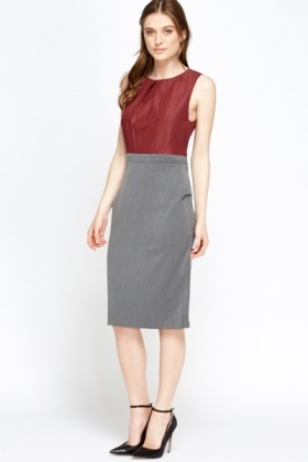 Maroon Contrast Pencil Dress