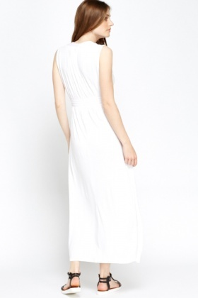 White V-Neck Empire Maxi Dress