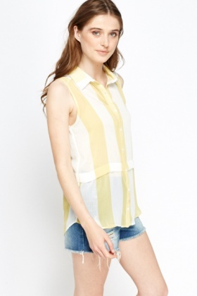 Yellow Striped Sheer Blouse