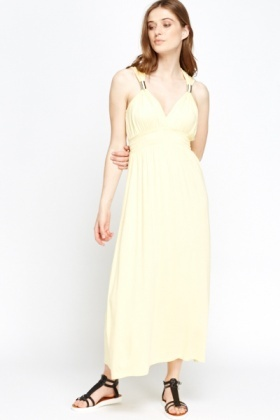 Yellow V-Neck Empire Maxi Dress