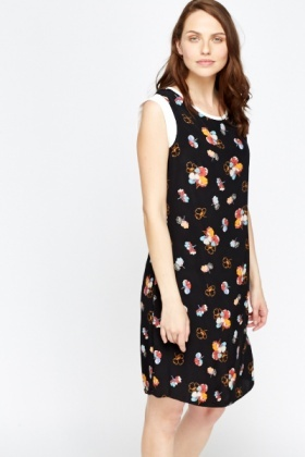 Basic Black Floral Shift Dress