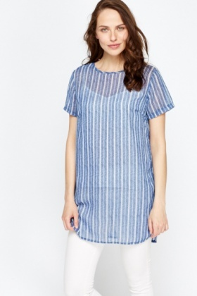 Blue Striped Sheer Long Top