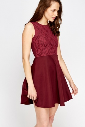 Maroon Lace Contrast Skater Dress - Just £5