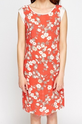 Orange Red Flower Shift Dress