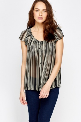 Striped Sheer Blouse