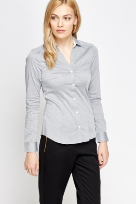 Slim Fit Grey Cotton Shirt