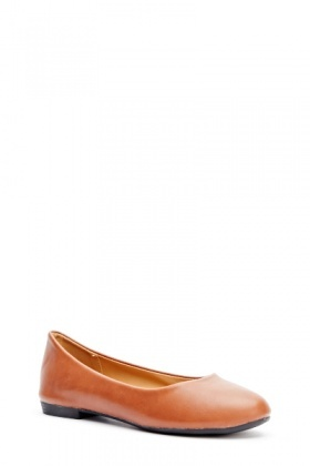 Faux Leather Ballet Pumps