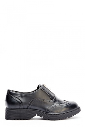 Faux Leather Zip Up Brogues