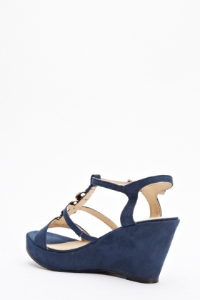Navy Embellished Wedged Shoes