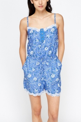 Embroidered Trim Blue Playsuit
