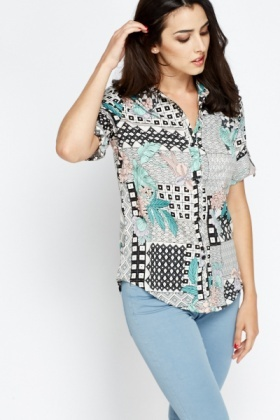 Ornate Mixed Print Cream Shirt