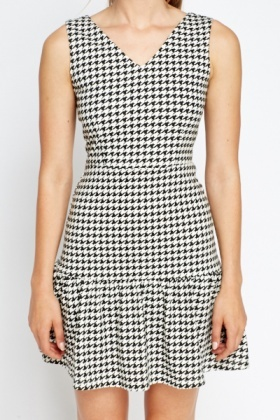 Houndstooth Ruffle Hem Dress