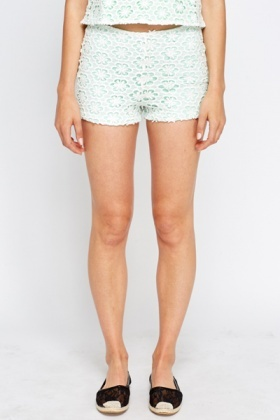 Mint Floral Overlay Shorts