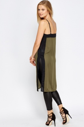 Olive Contrast Side Long Top
