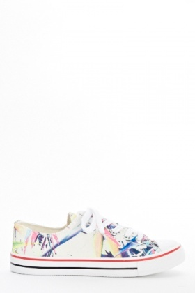 Beige Floral Canvas Trainers