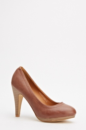 Faux Leather Classic Heels