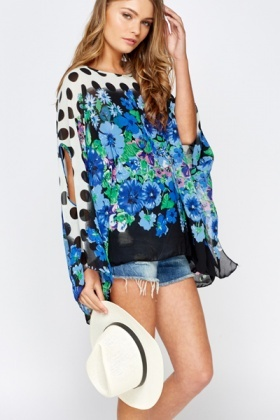 Mix Multi Print Beach Cover Up