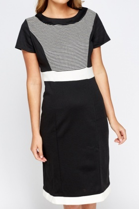 Mono Contrast Pencil Dress
